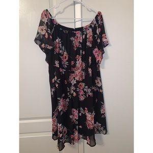 Torrid Black Floral Chiffon Skater Dress